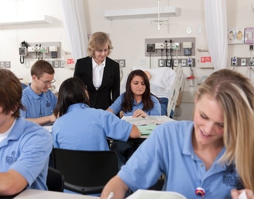 Photo of Masters of nursing students working with Professor